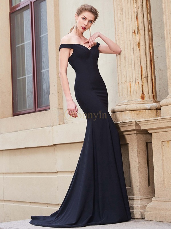 Dark Navy Satin Off-the-Shoulder Trumpet/Mermaid Sweep/Brush Train Prom Dresses