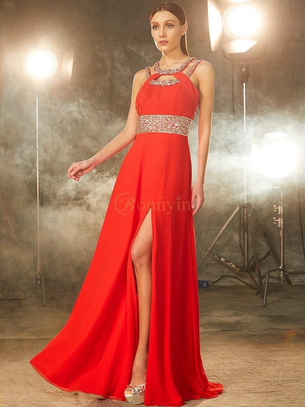 Red Chiffon Scoop A-Line/Princess Floor-Length Prom Dresses