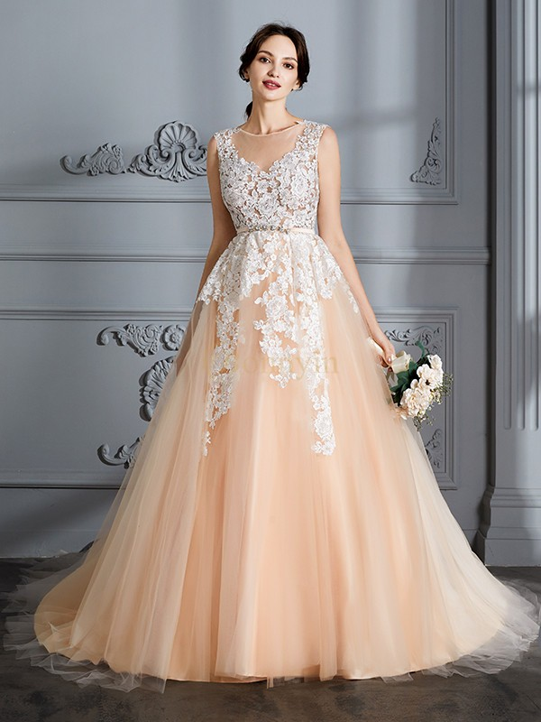 Champagne Tulle Scoop Ball Gown Court Train Wedding Dresses
