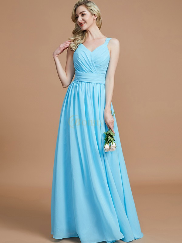 Light Sky Blue Chiffon V-neck A-Line/Princess Floor-Length Bridesmaid Dresses