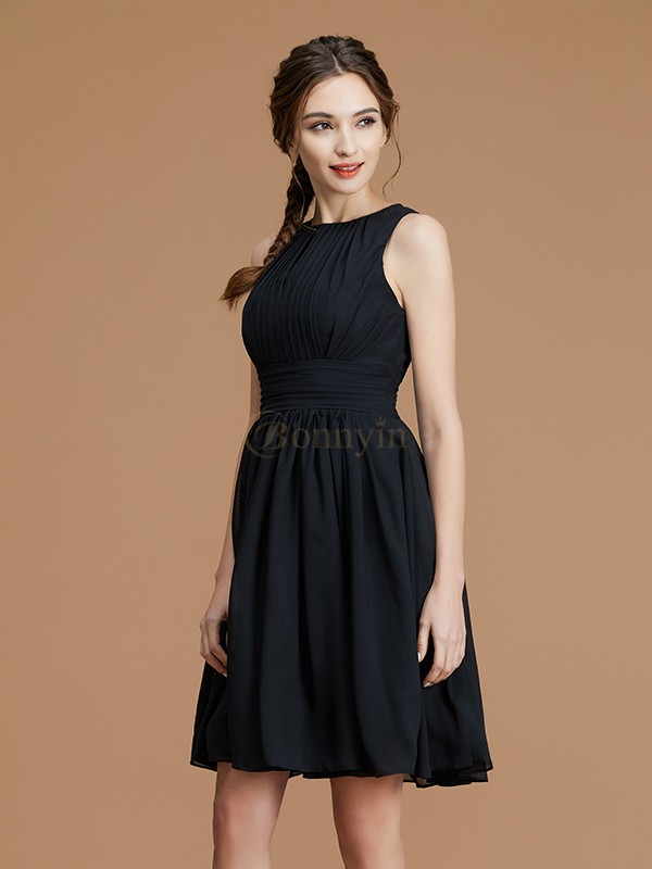 Black Chiffon Bateau A-Line/Princess Short/Mini Bridesmaid Dresses