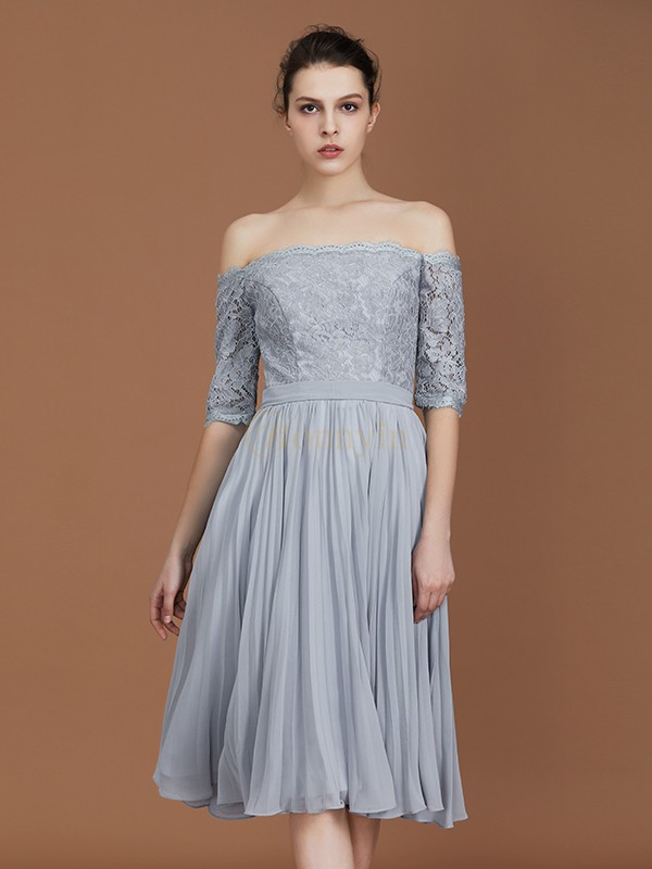 Grey Chiffon Off-the-Shoulder A-Line/Princess Tea-Length Bridesmaid Dresses