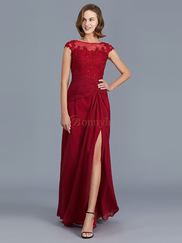 Burgundy Chiffon Scoop Sheath/Column Floor-Length Mother of the Bride Dresses