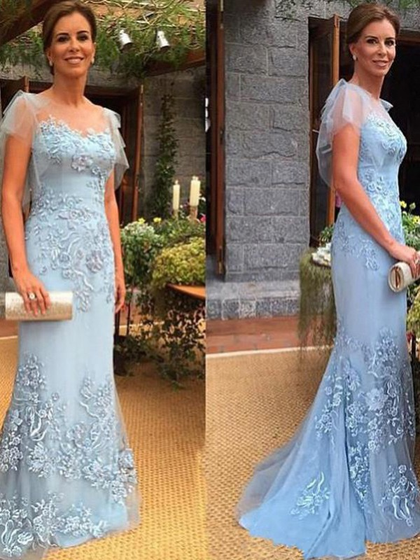 Blue Tulle Sheer Neck Sheath/Column Sweep/Brush Train Mother of the Bride Dresses
