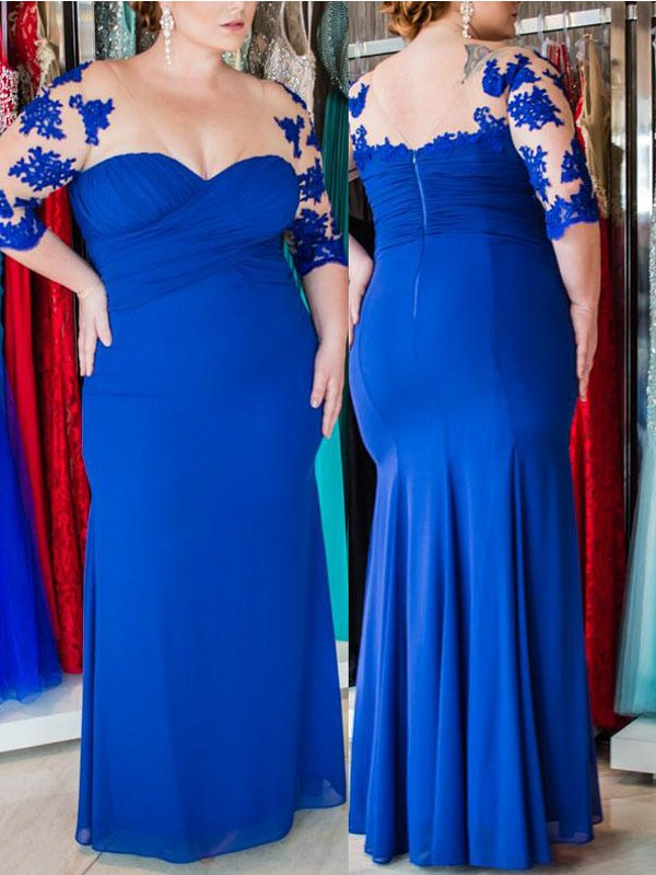Royal Blue Chiffon Sweetheart Sheath/Column Floor-Length Plus Size Dresses