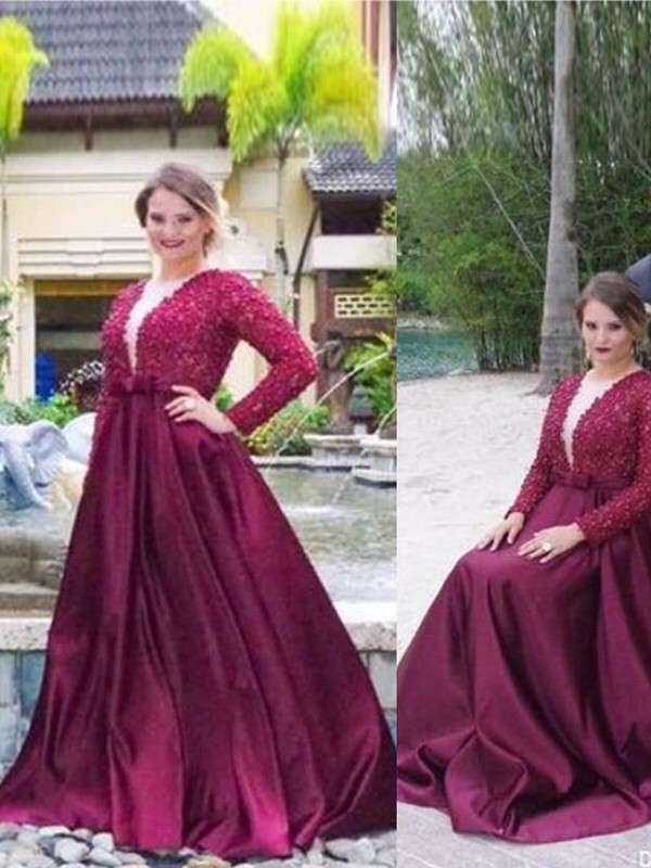 Burgundy Satin V-neck A-Line/Princess Sweep/Brush Train Plus Size Dresses