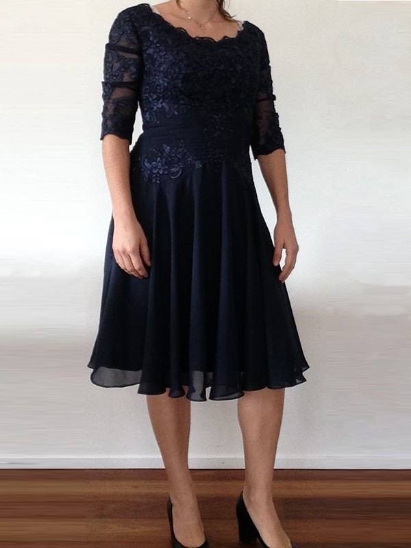 Dark Navy Chiffon Scoop A-Line/Princess Knee-Length Mother of the Bride Dresses