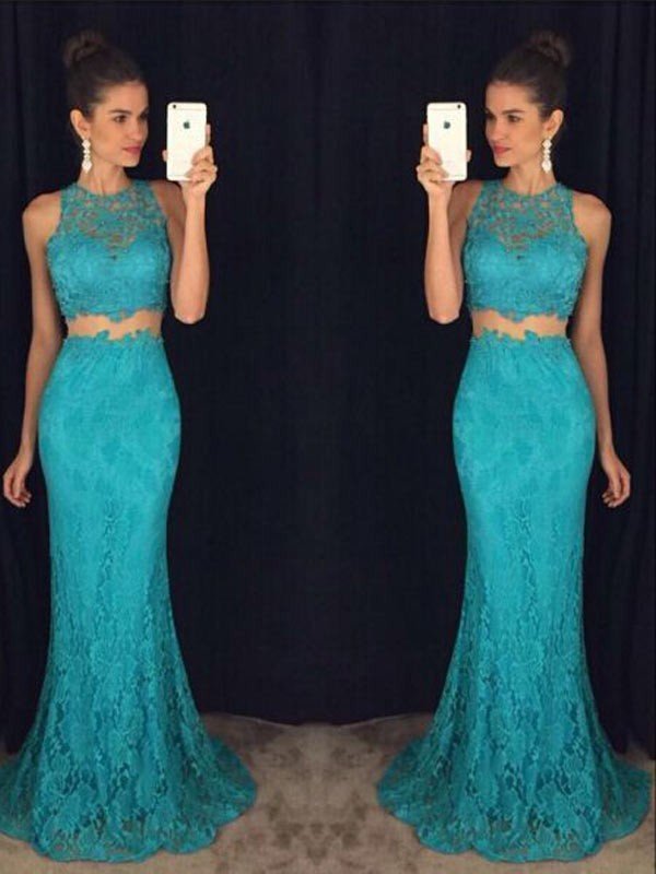 Green Lace Scoop Sheath/Column Floor-Length Prom Dresses