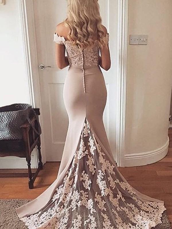 Champagne Satin Off-the-Shoulder Trumpet/Mermaid Sweep/Brush Train Prom Dresses