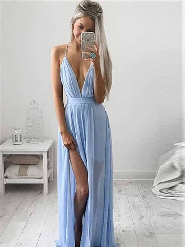 Light Sky Blue Chiffon Spaghetti Straps A-Line/Princess Floor-Length Prom Dresses