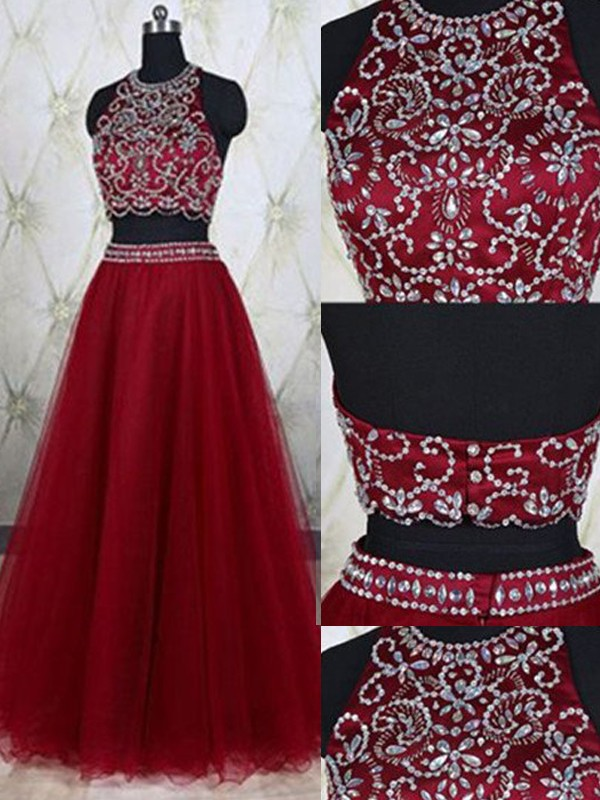 Red Tulle Jewel A-Line/Princess Floor-Length Prom Dresses