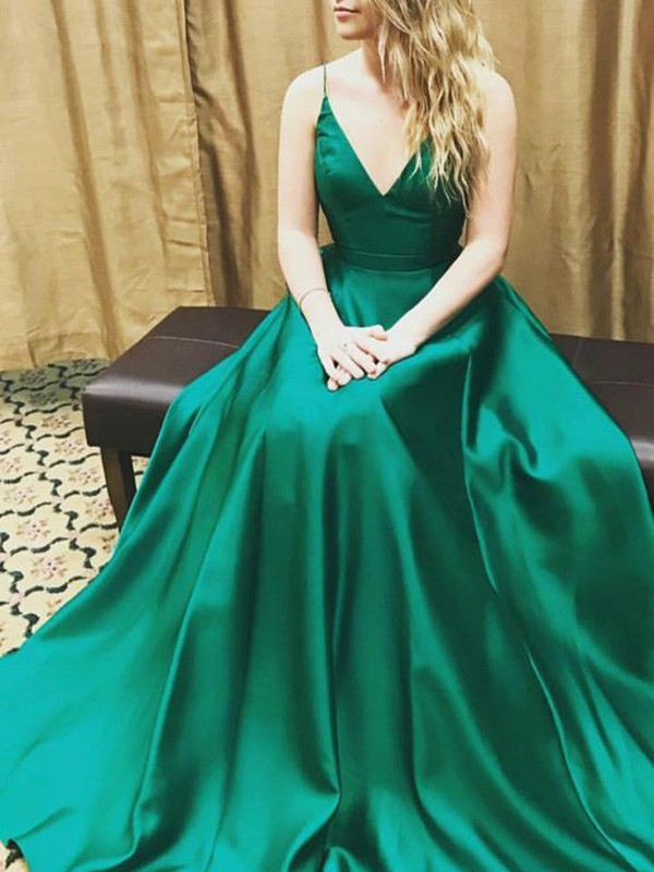 Dark Green Satin Spaghetti Straps A-Line/Princess Floor-Length Prom Dresses