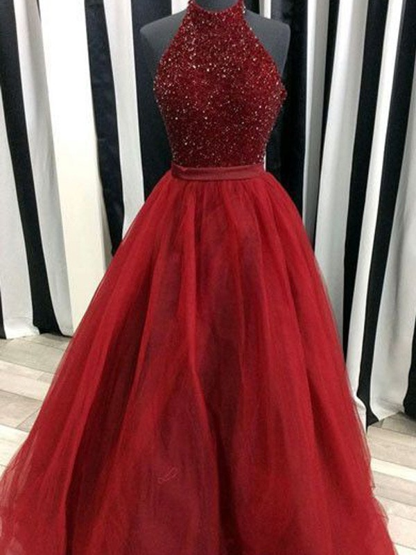 Red Organza High Neck Ball Gown Floor-Length Prom Dresses