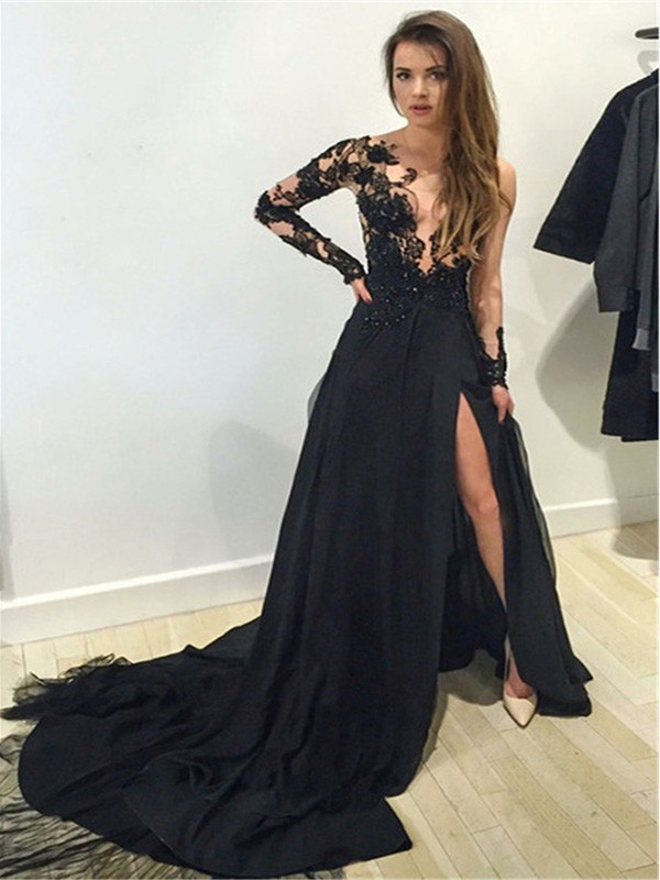 Black Chiffon Bateau A-Line/Princess Court Train Prom Dresses