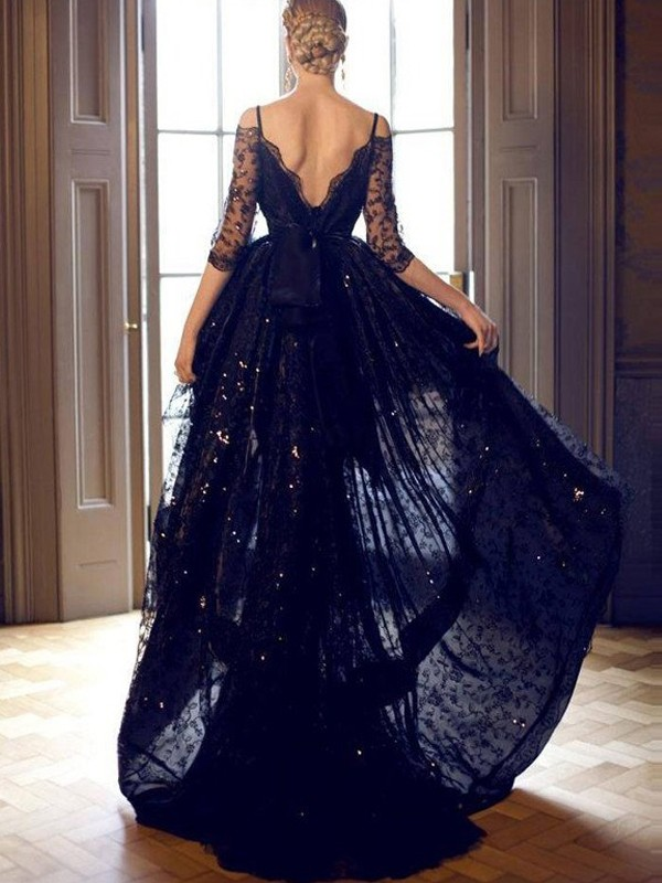 Black Lace Spaghetti Straps A-Line/Princess Sweep/Brush Train Prom Dresses