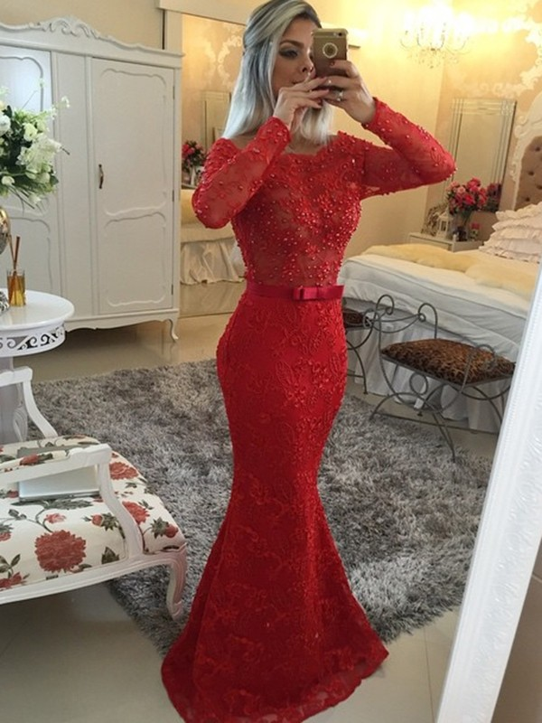 Red Lace Scoop Trumpet/Mermaid Sweep/Brush Train Dresses