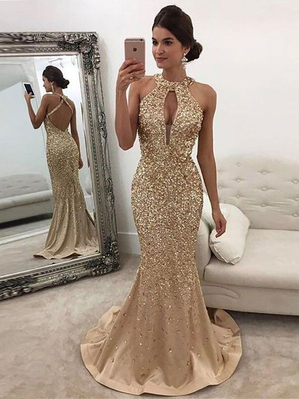 Gold Satin Halter Trumpet/Mermaid Sweep/Brush Train Dresses