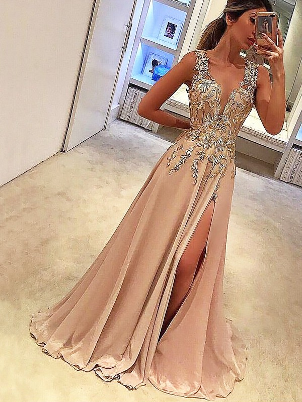 Pearl Pink Silk like Satin V-neck A-Line/Princess Floor-Length Dresses