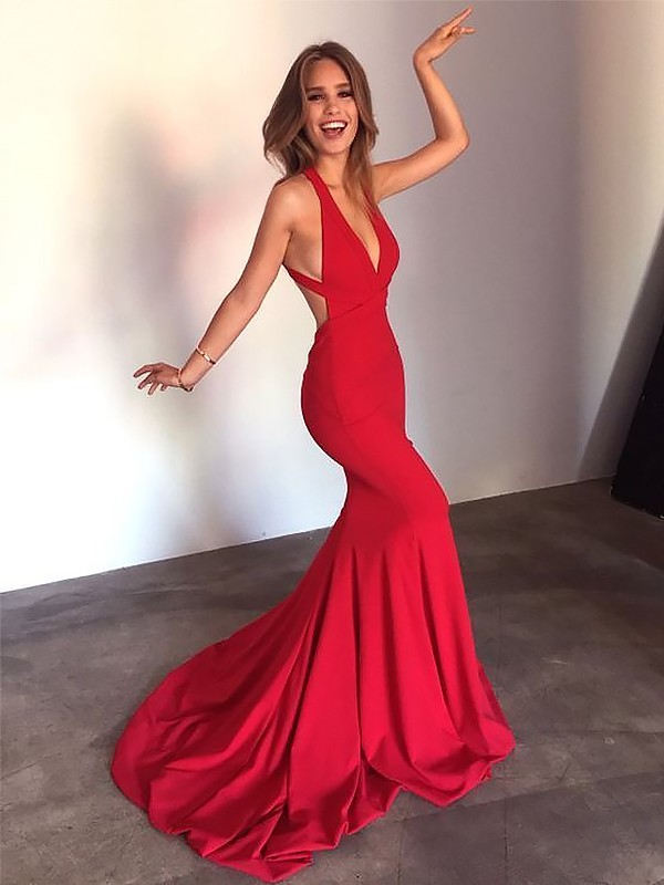 Red Spandex V-neck Sheath/Column Sweep/Brush Train Dresses