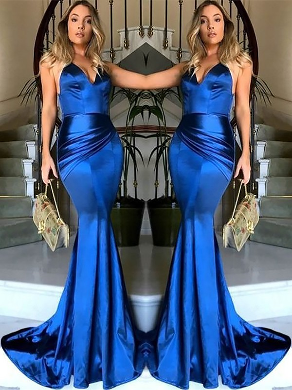 Royal Blue Satin V-neck Sheath/Column Sweep/Brush Train Dresses