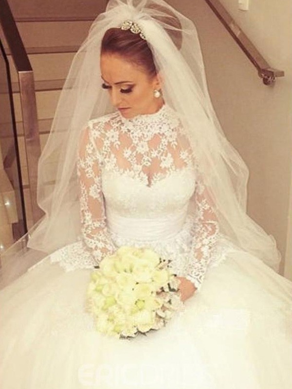 Ivory Lace High Neck Ball Gown Cathedral Train Wedding Dresses