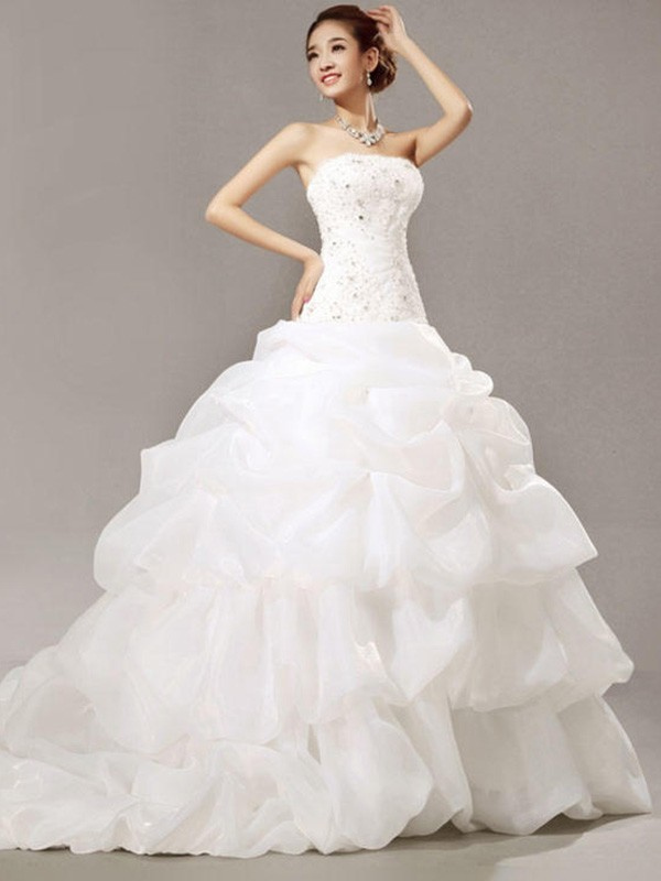 White Organza Strapless Ball Gown Cathedral Train Wedding Dresses