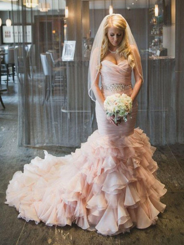 Pink Organza Sweetheart Trumpet/Mermaid Court Train Wedding Dresses