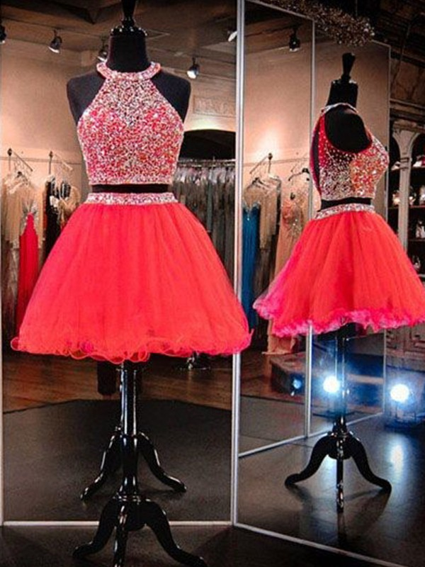 Watermelon Tulle Halter A-Line/Princess Short/Mini Two Piece Dresses
