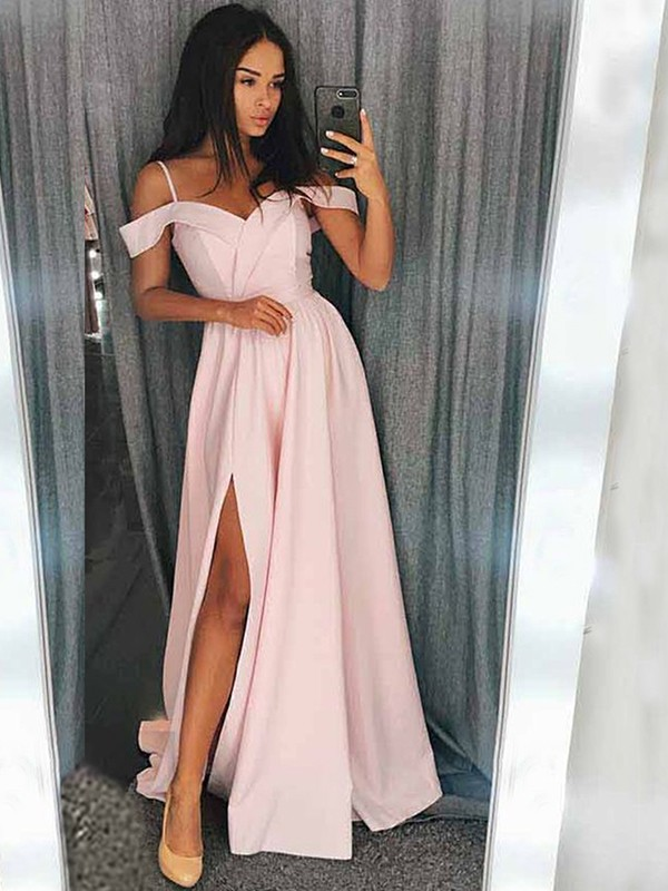 Pink Satin Off-the-Shoulder A-Line/Princess Sweep/Brush Train Dresses