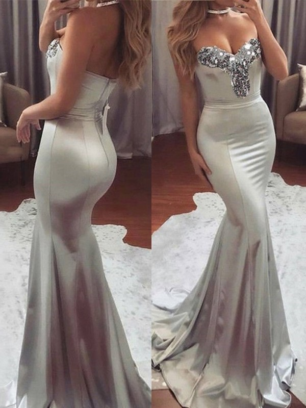 Grey Satin Sweetheart Trumpet/Mermaid Sweep/Brush Train Dresses