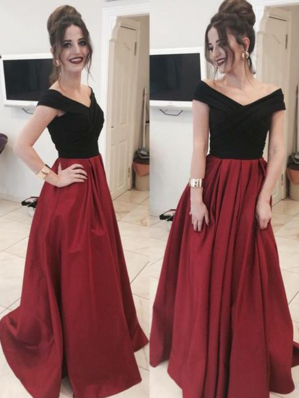 Red Satin Off-the-Shoulder A-Line/Princess Sweep/Brush Train Dresses