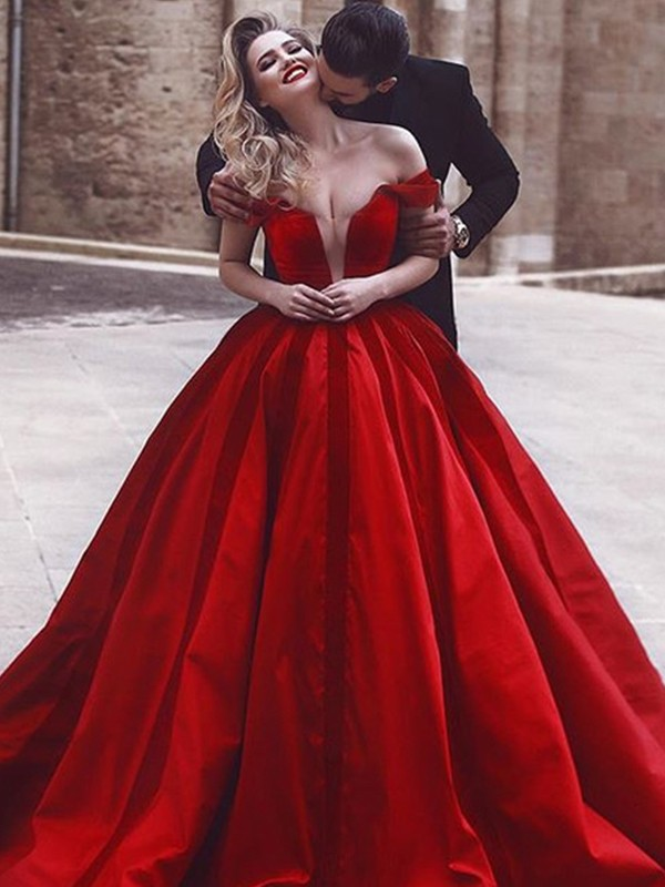 Red Satin Off-the-Shoulder Ball Gown Sweep/Brush Train Dresses