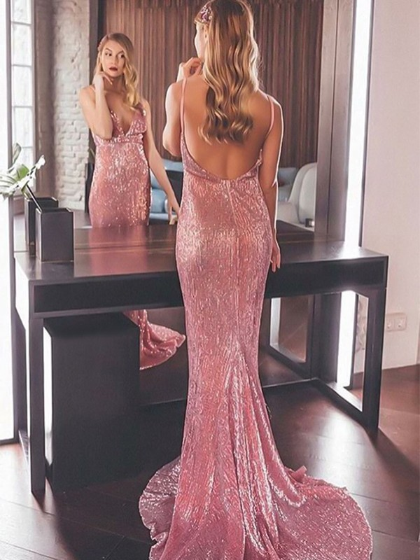 Pink Sequins V-neck Trumpet/Mermaid Sweep/Brush Train Dresses