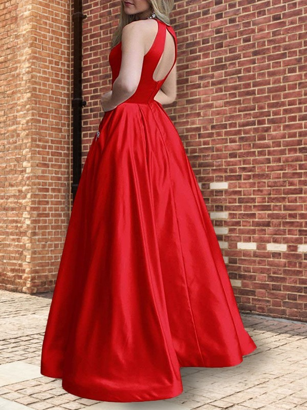 Burgundy Satin Halter A-Line/Princess Floor-Length Dresses