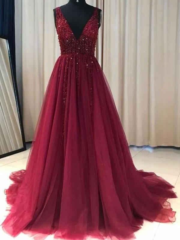 Burgundy Tulle V-neck A-Line/Princess Sweep/Brush Train Dresses