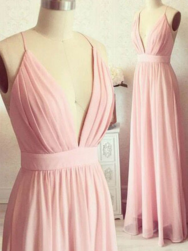 Pearl Pink Chiffon Spaghetti Straps A-Line/Princess Floor-Length Dresses