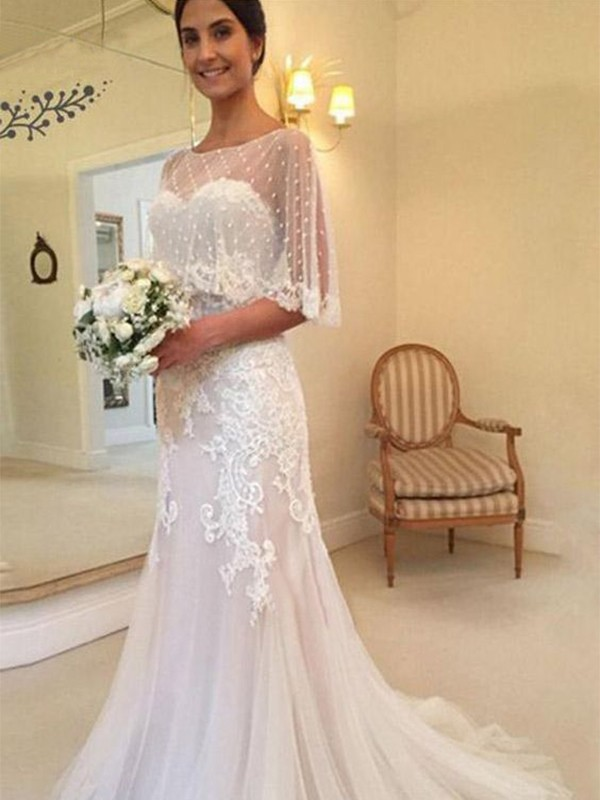 Pink Tulle Sweetheart Sheath/Column Sweep/Brush Train Wedding Dresses