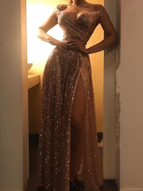 Champagne Sequins Off-the-Shoulder A-Line/Princess Floor-Length Dresses