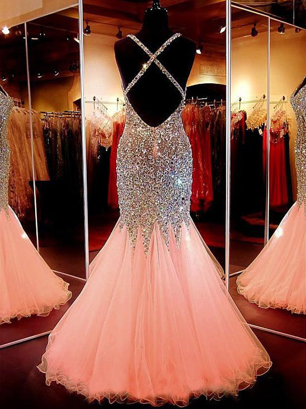 Pink Tulle V-neck Trumpet/Mermaid Floor-Length Dresses