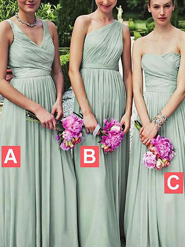 Light Sky Blue Chiffon A-Line/Princess Floor-Length Bridesmaid Dresses