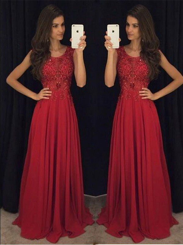 Red Chiffon Scoop A-Line/Princess Floor-Length Dresses