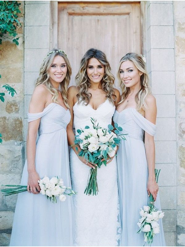 Sage Chiffon Off-the-Shoulder A-Line/Princess Floor-Length Bridesmaid Dresses