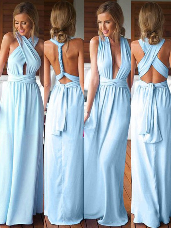 Blue Spandex A-Line/Princess Floor-Length Bridesmaid Dresses