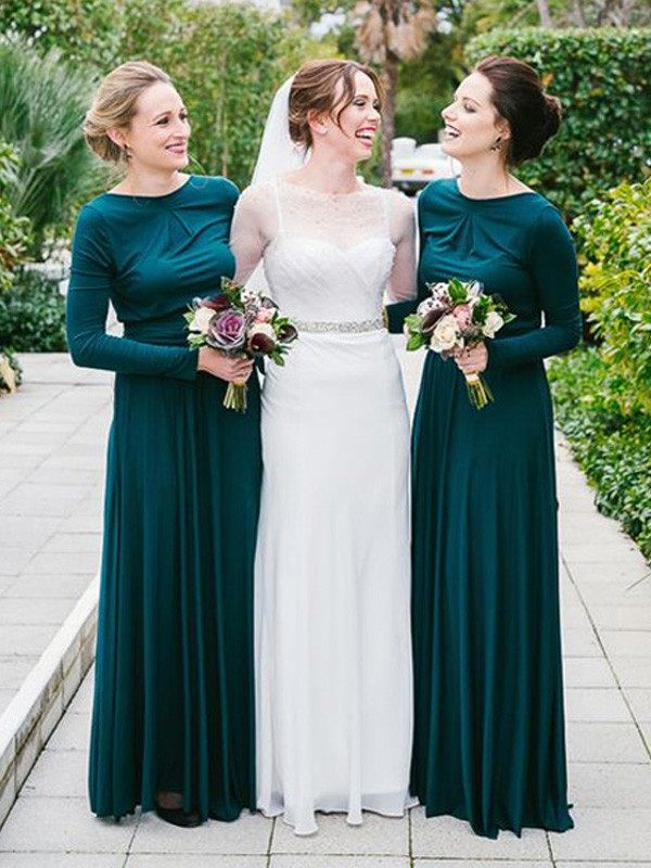 Dark Green Jersey Sweetheart A-Line/Princess Floor-Length Bridesmaid Dresses