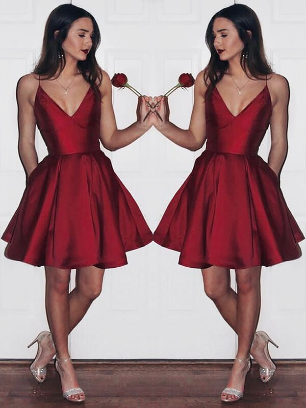 Burgundy Satin V-neck A-line/Princess Short/Mini Homecoming Dresses