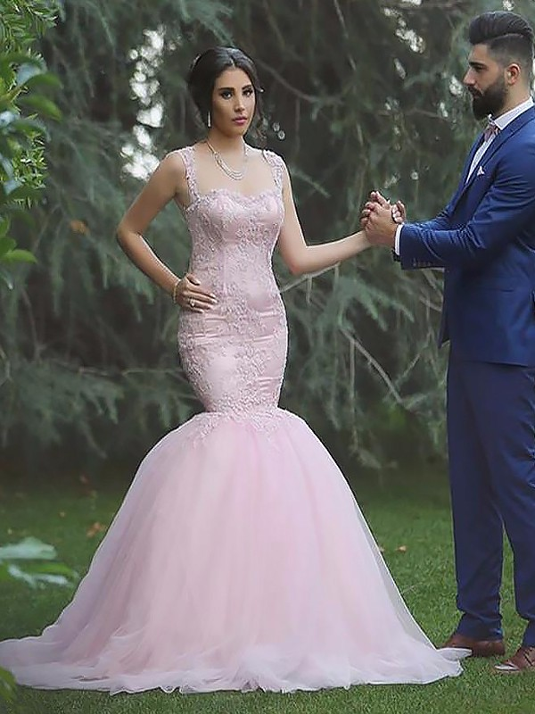 Pink Tulle Straps Trumpet/Mermaid Sweep/Brush Train Wedding Dresses