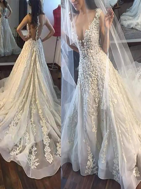 Ivory Tulle V-neck A-Line/Princess Court Train Wedding Dresses