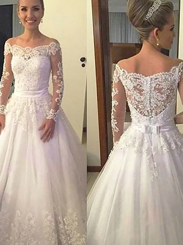 Ivory Tulle Off-the-Shoulder Ball Gown Court Train Wedding Dresses